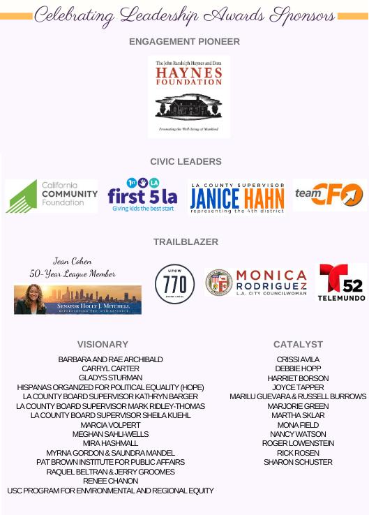 List of event sponsors
