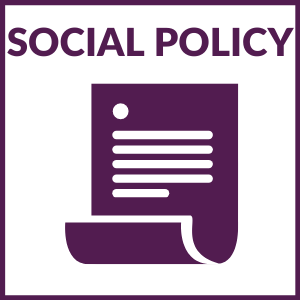 """square graphic that says """"Social Policy"""" with a document below and a purple border around the graphic."""