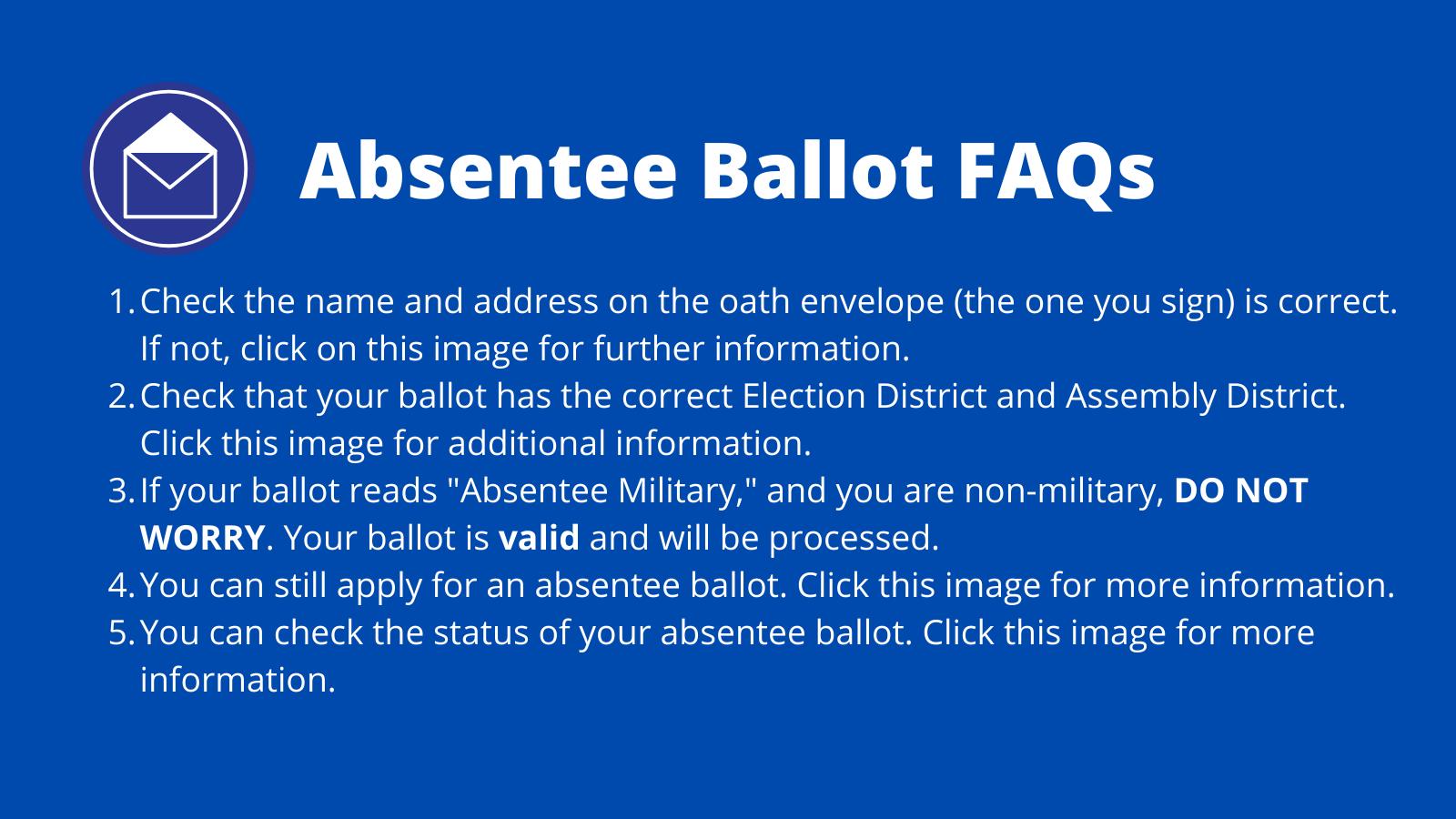 Absentee Ballot FAQs