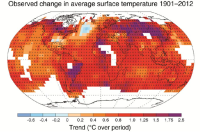 Observed change in average surface temperatures 1901-2012