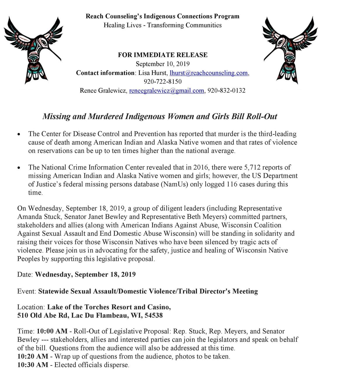 Missing and Murdered Indigenous Women and Girls Bill Roll-Out