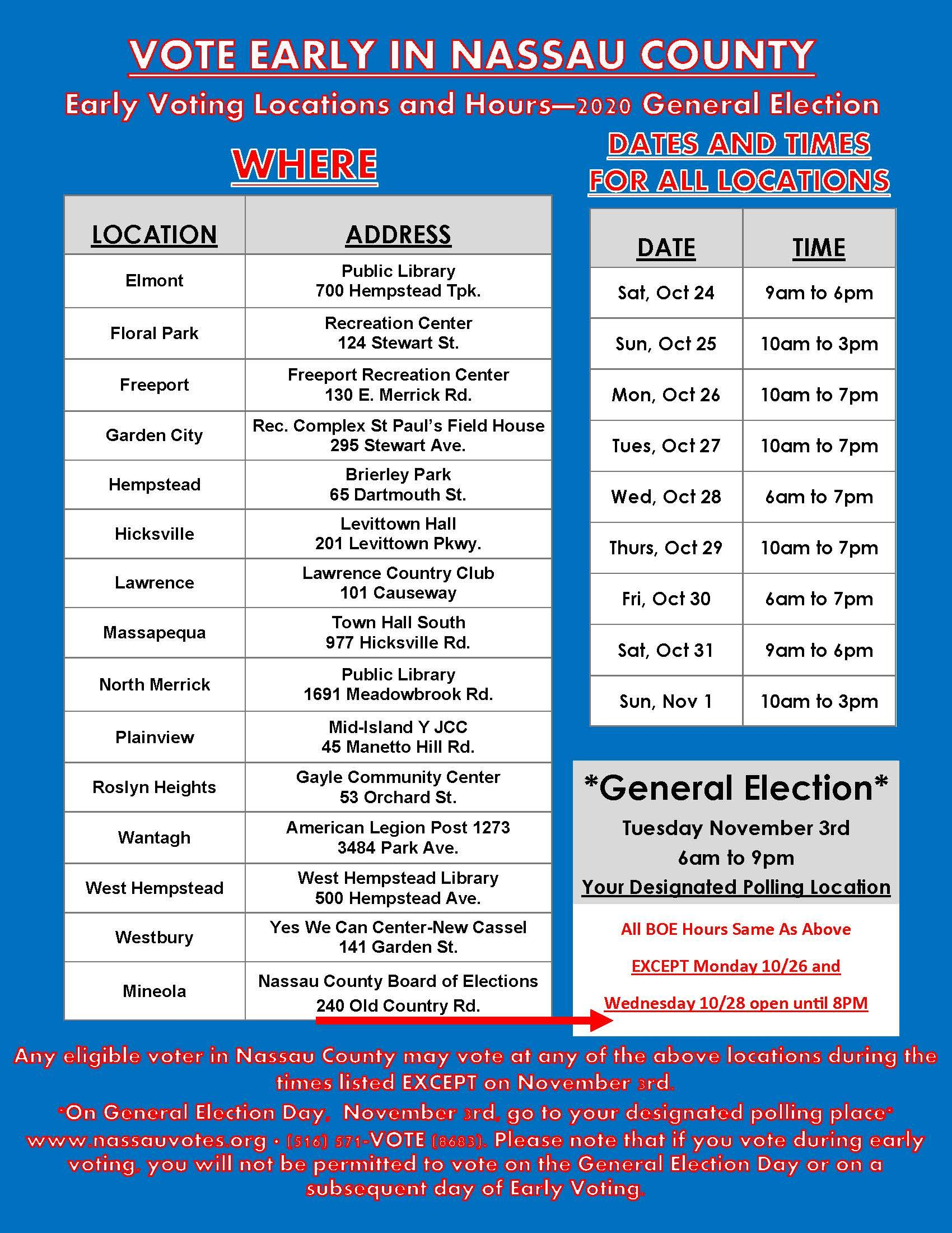 Vote Early in Nassau County Locations and times (English)