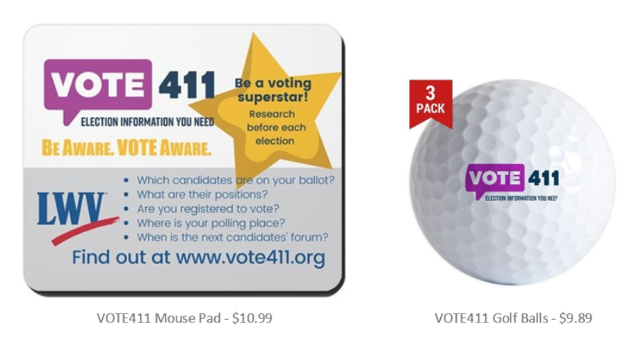 photo of mouse pad with Vote411 info and LVWDE logo and golf ball with logo.