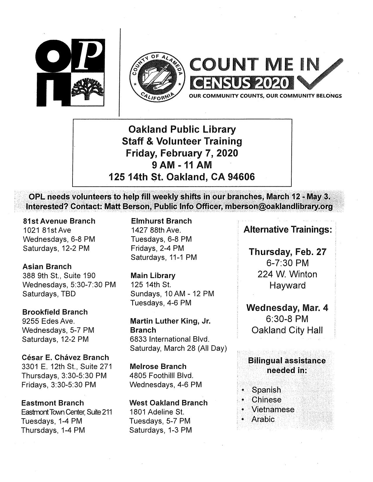 Census Training Dates