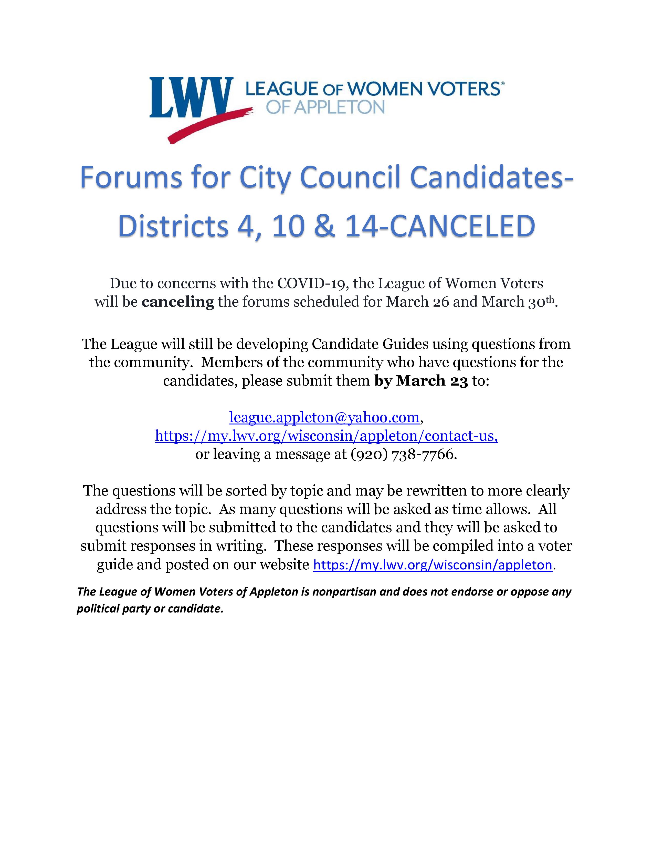 City Council Forums
