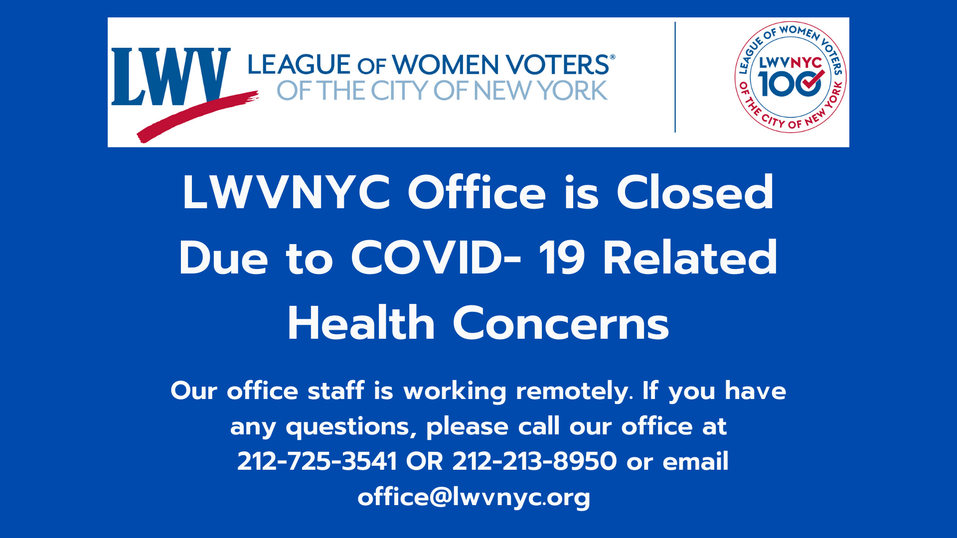 LWVNYC Office Closed Due to COVID- 19 Health Concerns