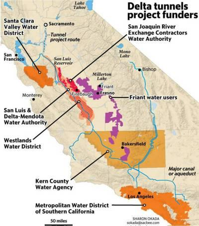 Map of Delta Tunnels Project Funders