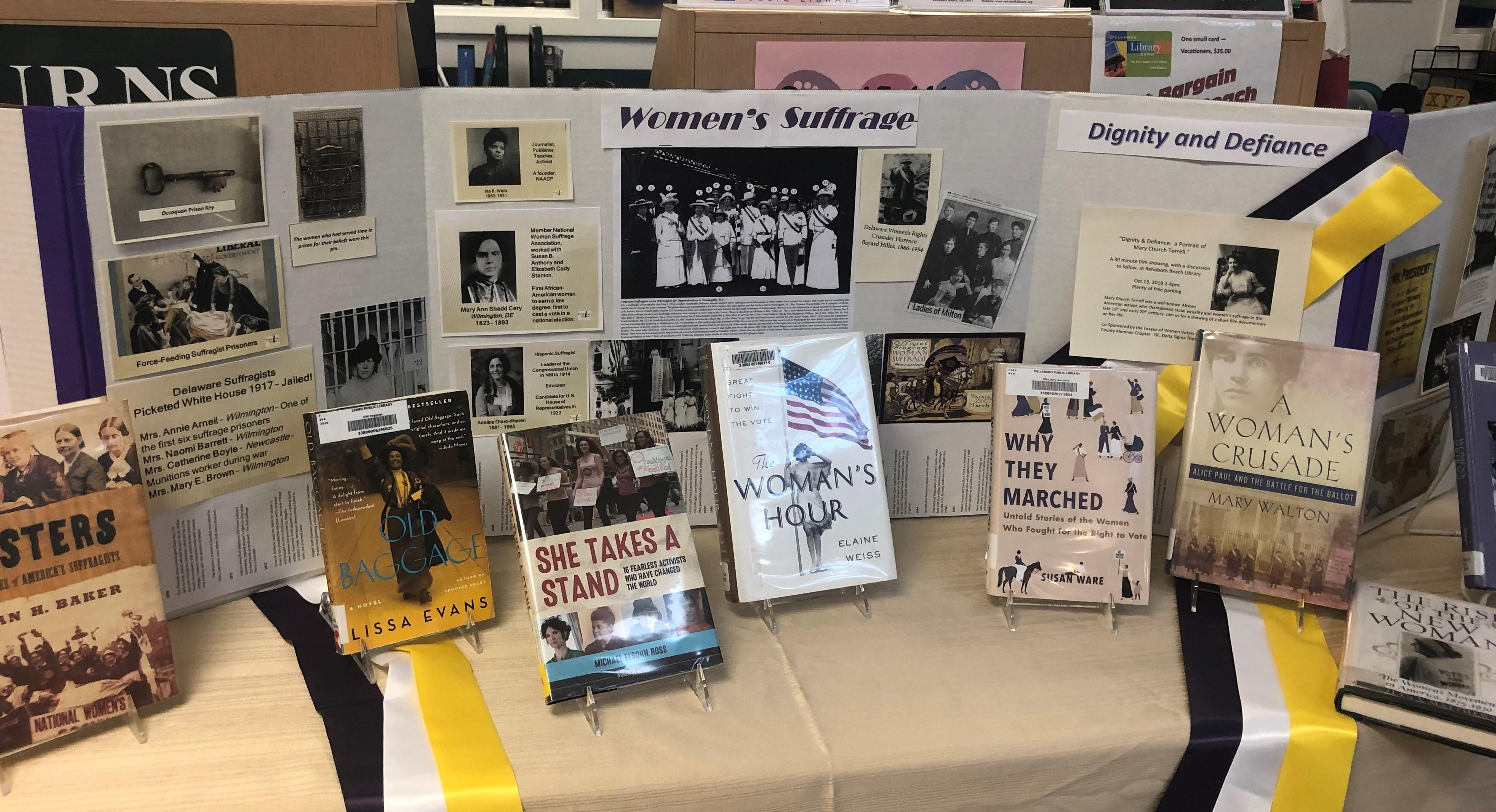 photo of display for Dignity & Defiance at Rehoboth Library