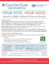 March 2020 Easy Voter Guide