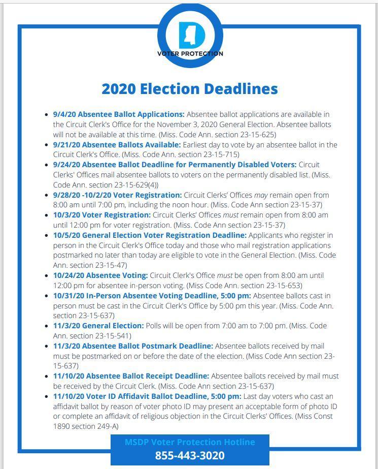 2020 election dates MIssissippi