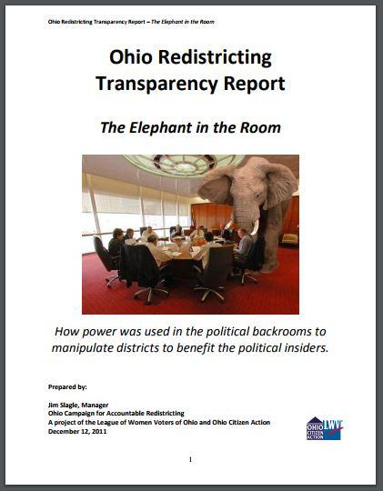 "Cover of ""Ohio Redistricting Transparency Report: The Elephant in the Room"""