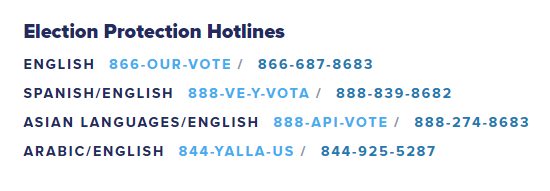 Election Protection Hotline Information