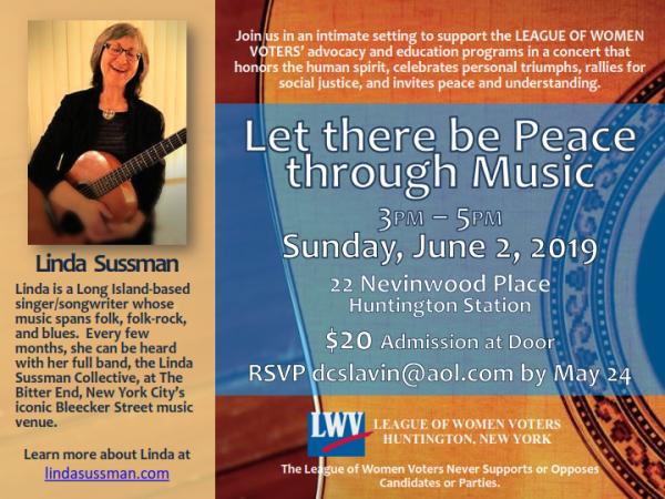 Linda Sussman Concert Flyer - June 2, 2019
