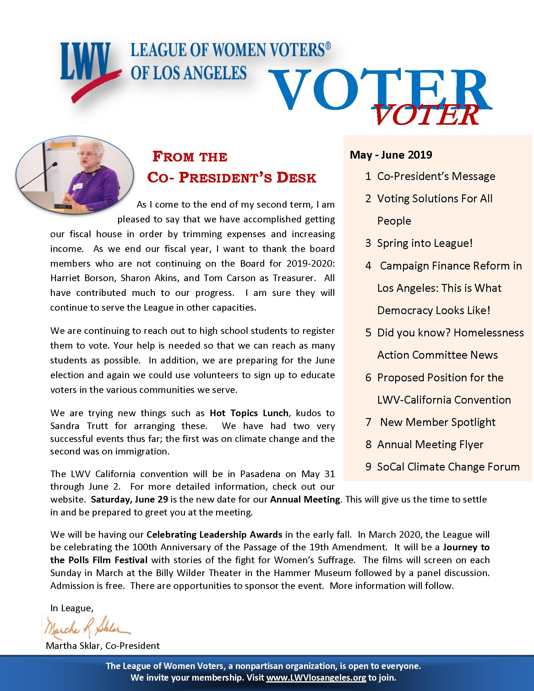 May - June 2019 VOTER newsletter
