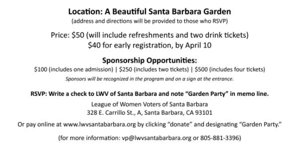 Garden Party w/ LWVUS President Chris Carson - description