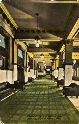 "Grand Lobby and Peacock Alley of the St. Anthony Hotel. ""Courtesy of Special Collections, University of Houston Libraries."""
