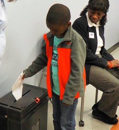 LWV Kent Voter Girl project-ballot box