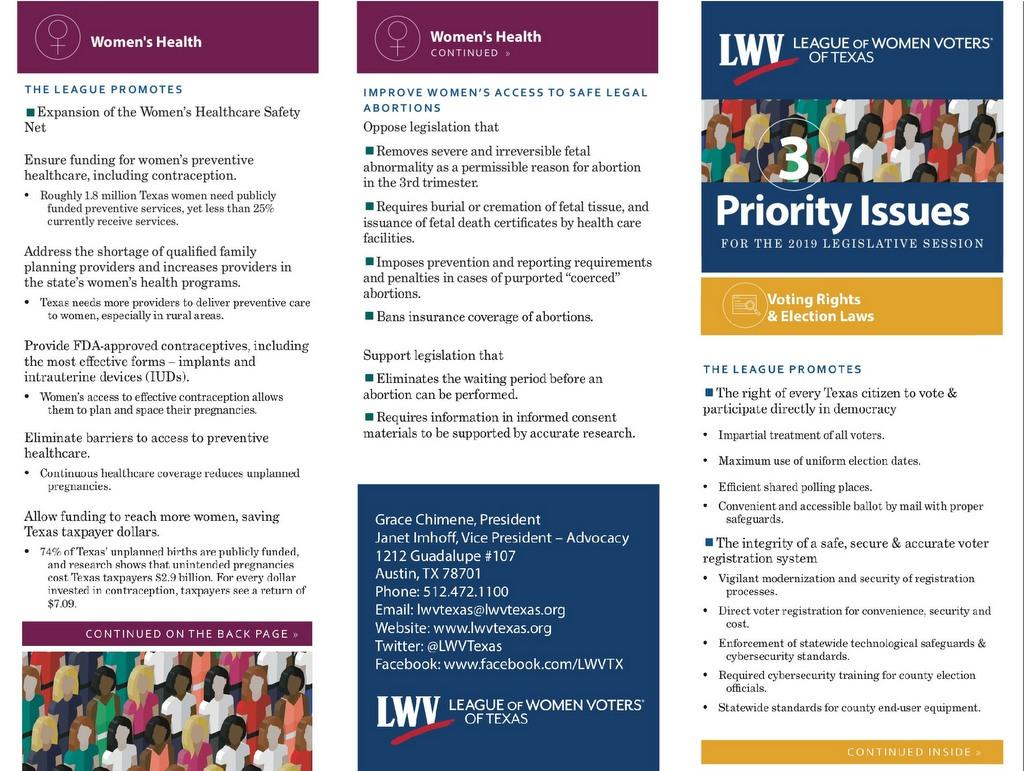 2019 Priority Brochure from Texas Lobby Days -  front
