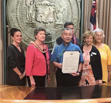 LWVHC 100th Anniversary Proclamation with Gov. David Ige small group