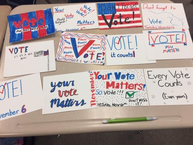 Photo of get-out-the-vote postcards