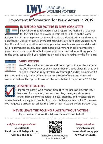 Important Info for New NY Voters 2019 - Side 2