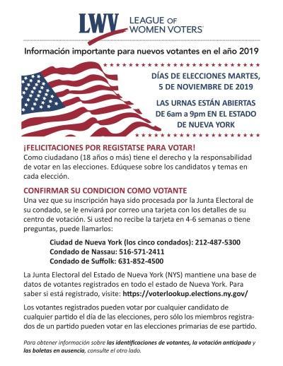 Información Importante para Nuevos Votantes de NY 2019 - Side 1