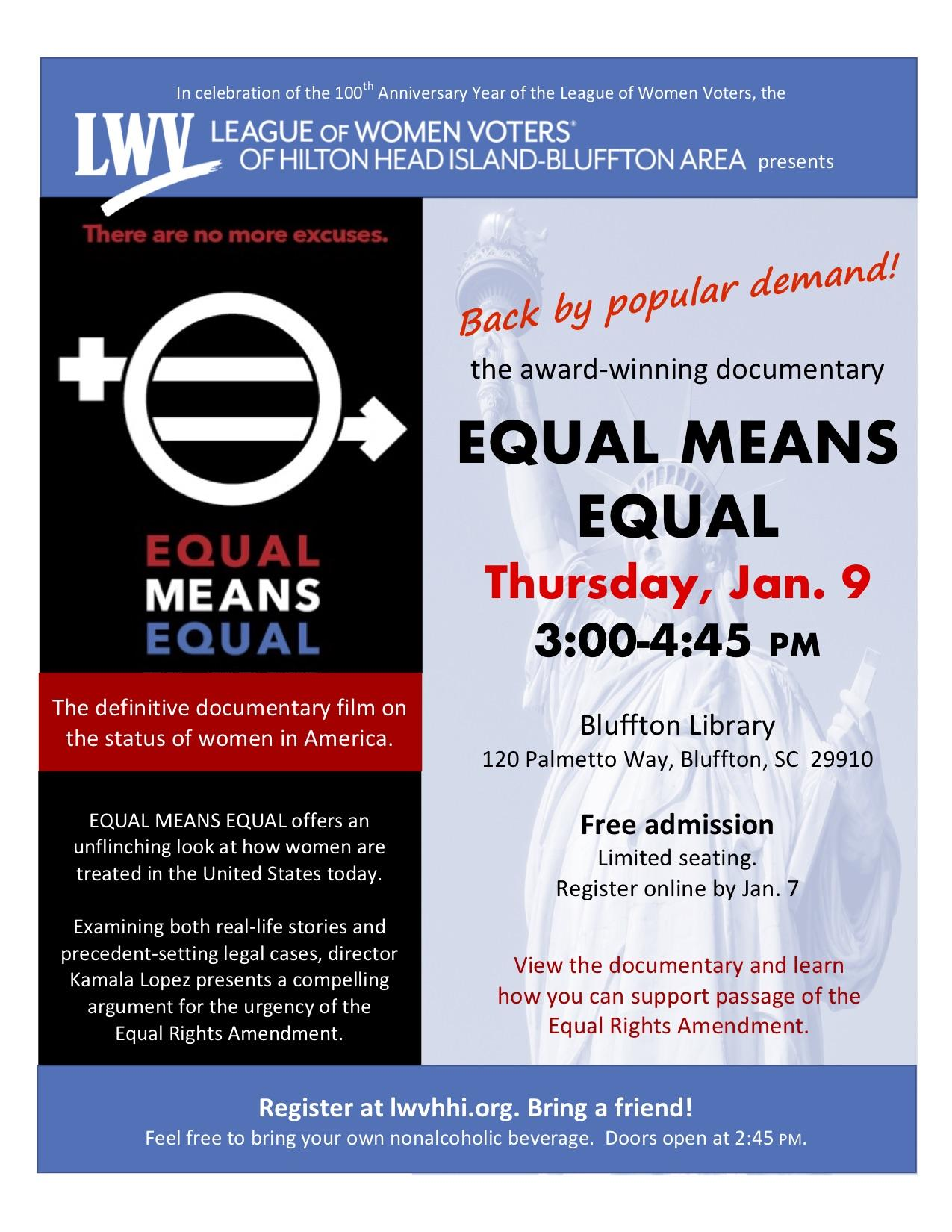 Jan. 9 Equal Means Equal documentary