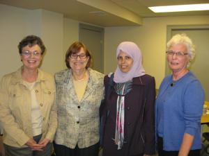 LWVSMA members Joan, Lenore, & Gwen with Iraqi Visitor