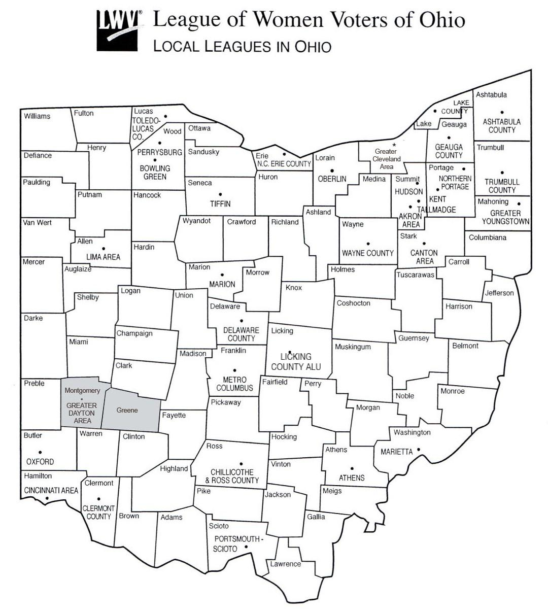 Map of Local Leagues in Ohio