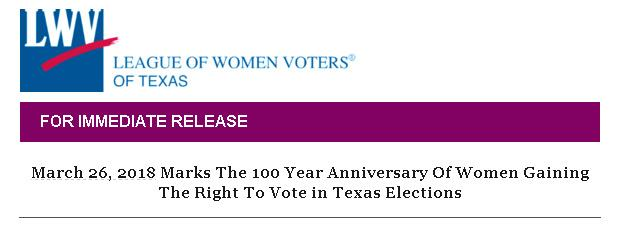 LWV-TX Press Release Banner