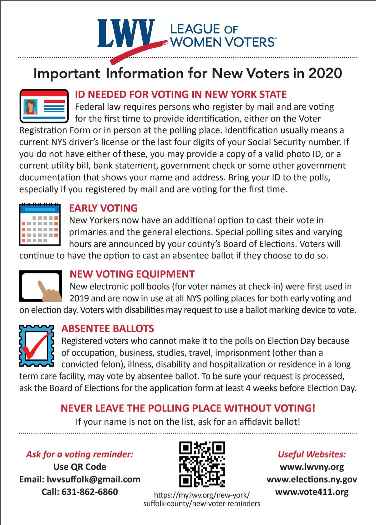 Important information for new voters Back Page