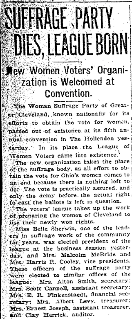 Cleveland LWV founded PD 5-30-1920