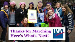 Picture of members of the New Jersey League at the Women's March in Washington DC January 2017