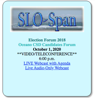 LWV SLOCO Candidates Forums 2020 Oceano Community Services Department