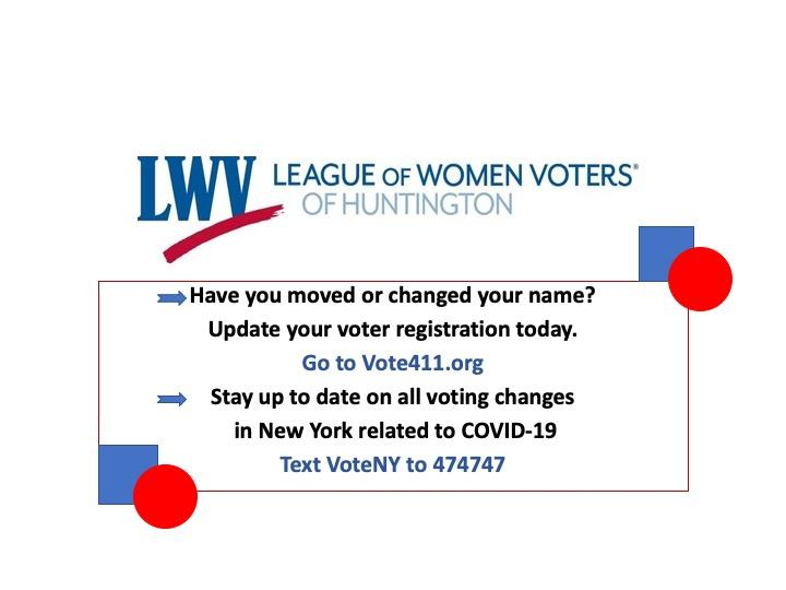 League of Women Voters of Huntington voting 2020