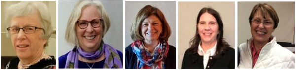 headshots of five women - officers of LWVNCC in 2018
