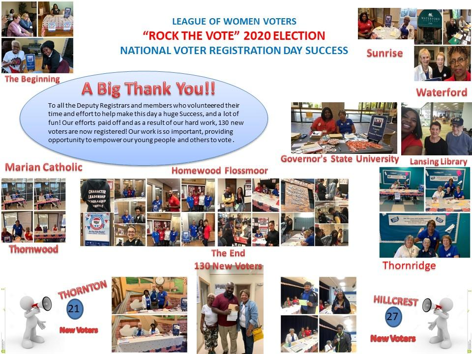A Big Thank You for our New Voter Registration drive