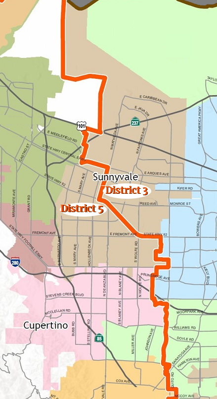 Map showing Santa Clara County districts 3 & 5 as they apply Cupertino and Sunnyvale CA.
