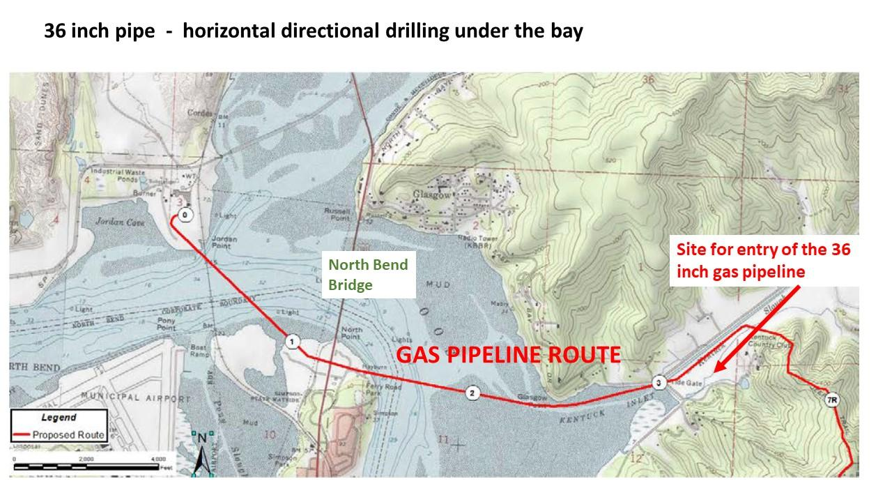 Pipeline Route under Coos Bay