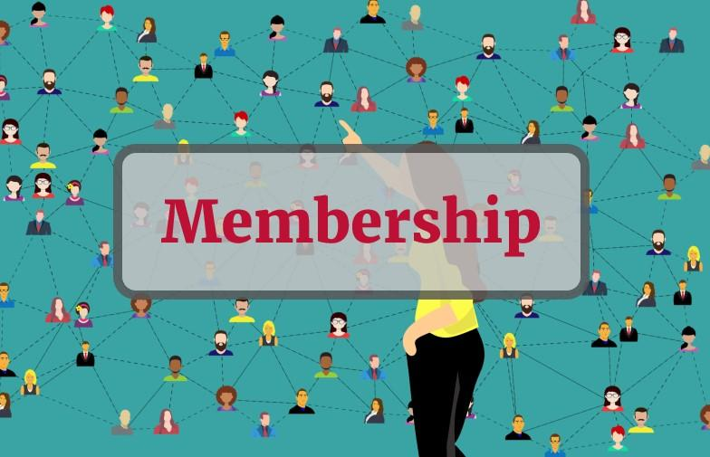Membership - text overlay on stock photo of community of members interconnected
