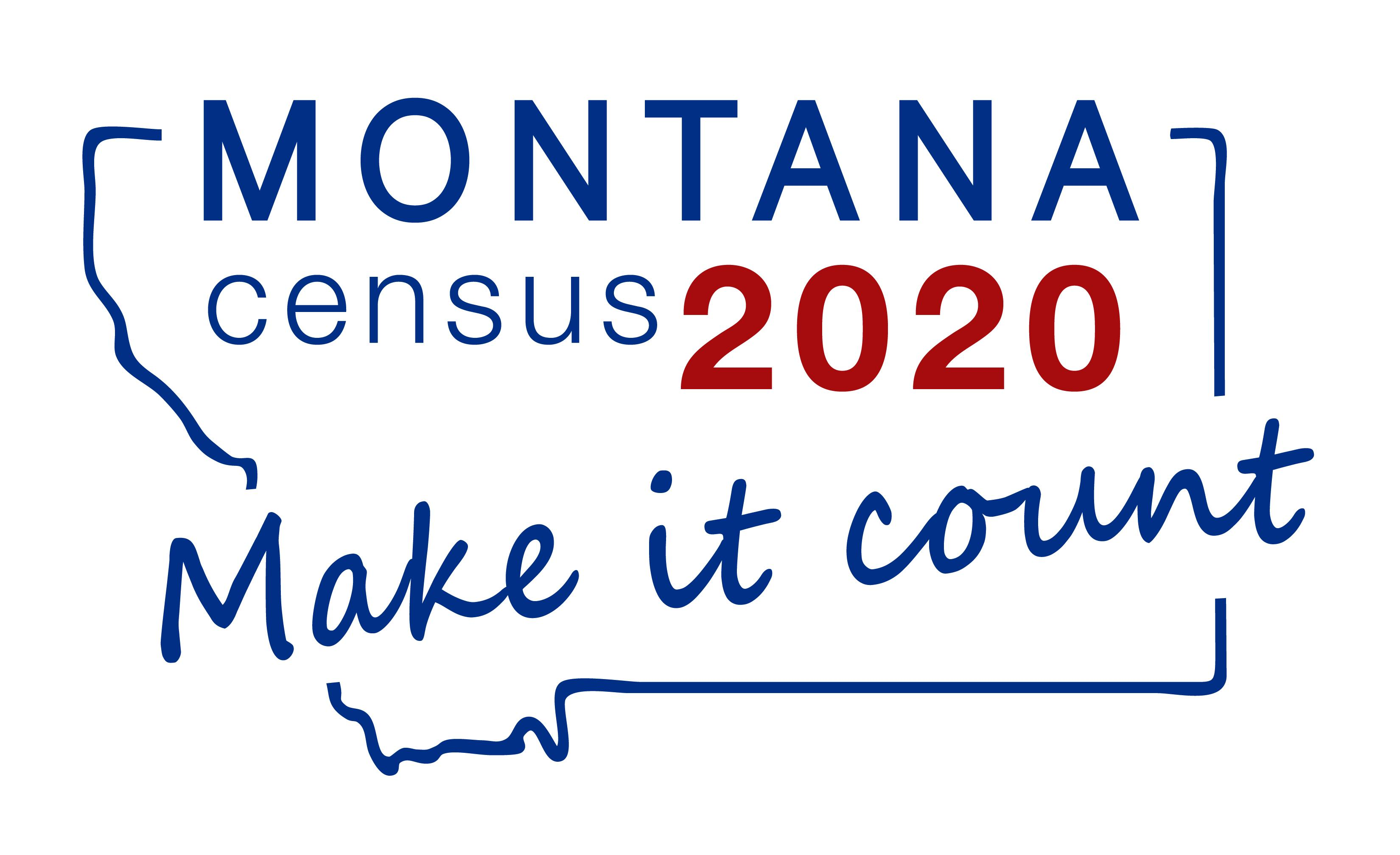 outline of state of Montana with Census 2020 Make it Count