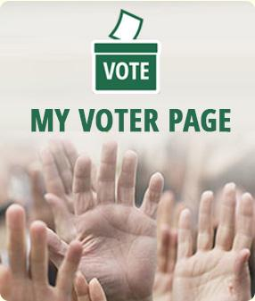 Graphic of hands raised to be counted; labeled My Voter Page in Vermont Green