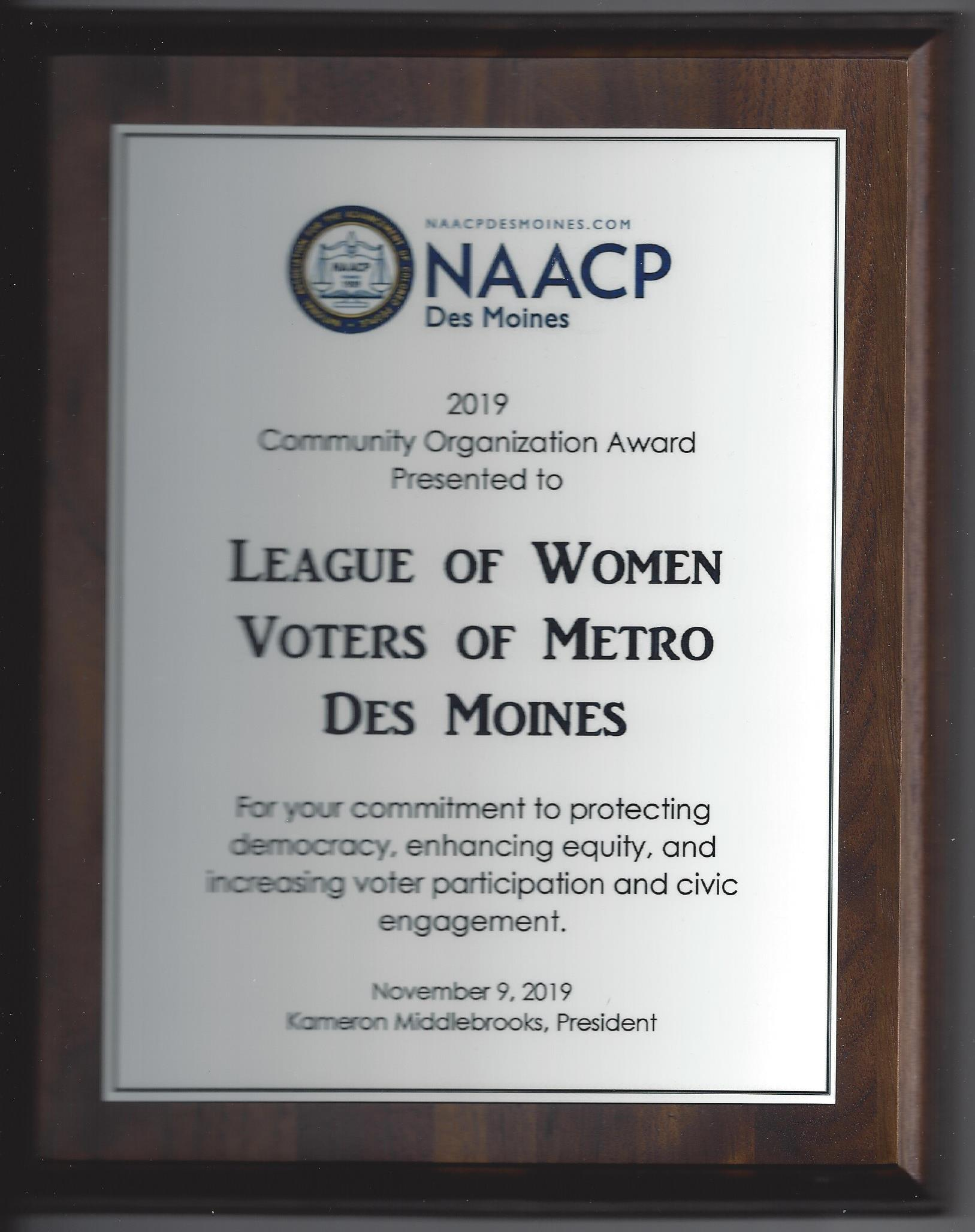 Picture of the NAACP award given to LWV Metro Des Moines