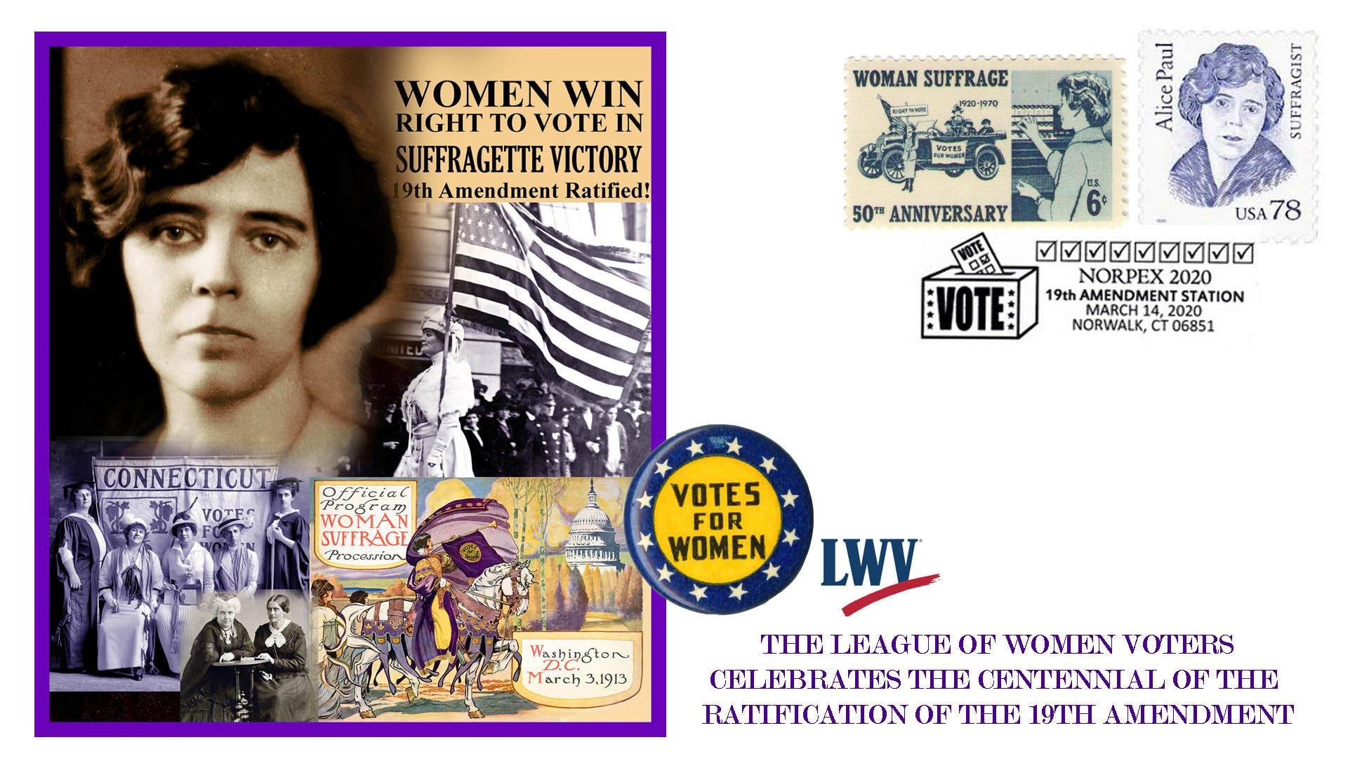 Alice Paul and Woman Suffrage Centennial first day cover cachet designed by Chris Calle