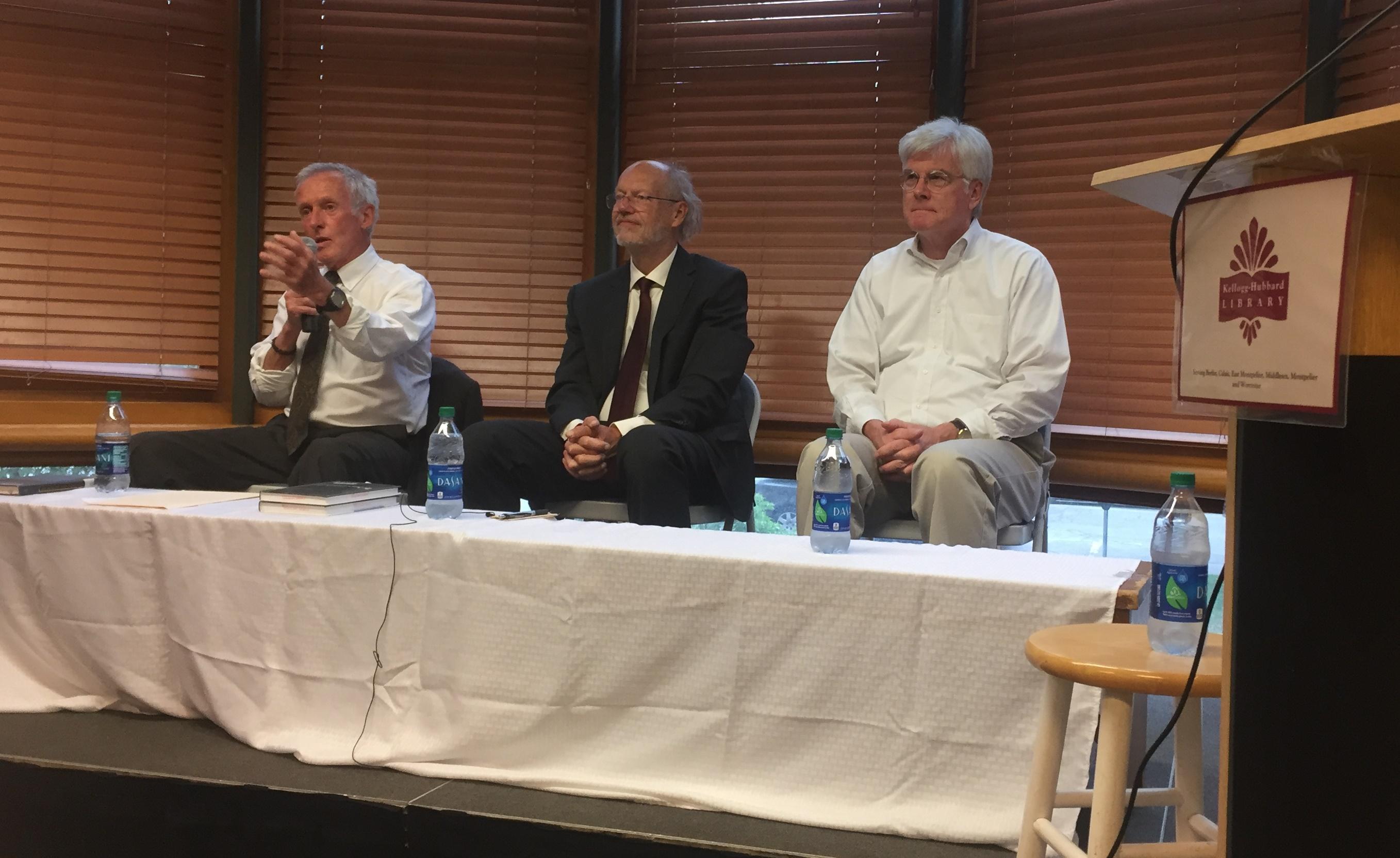 Panelists Professor Peter Teachout, attorneys Paul Gillies, John Franco