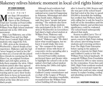High Point Enterprise article about the event - page 1