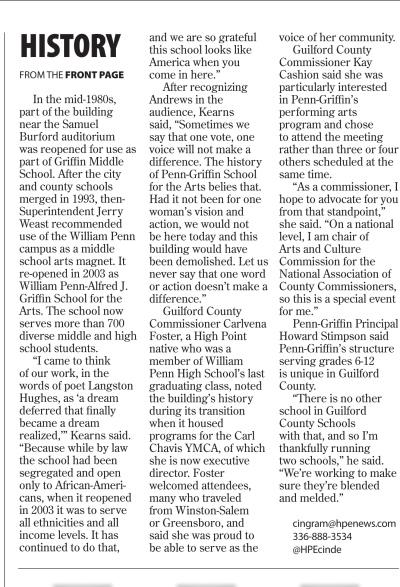 High Point Enterprise article about the event - page 2