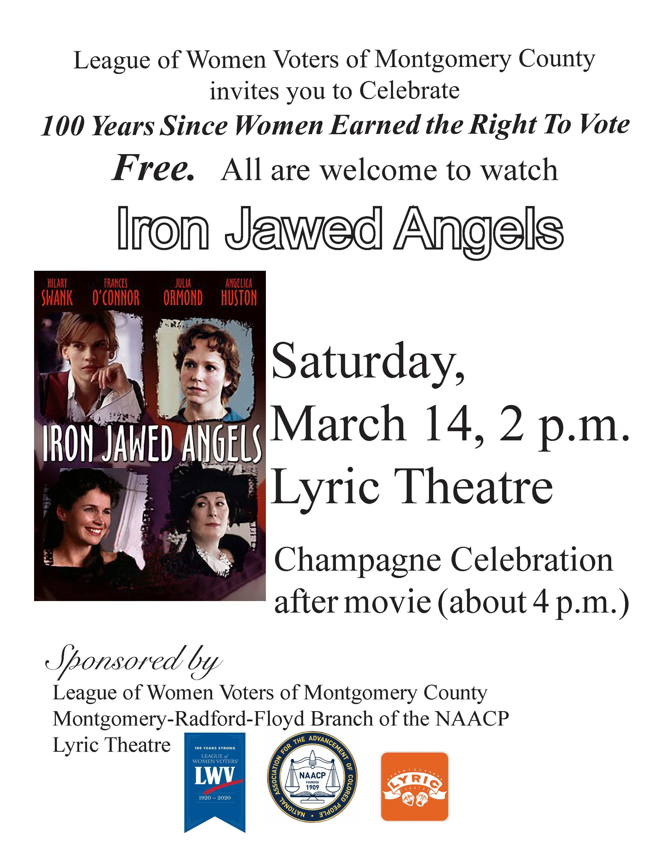 poster advertising movie Iron Jawed Angels March 14, 2020