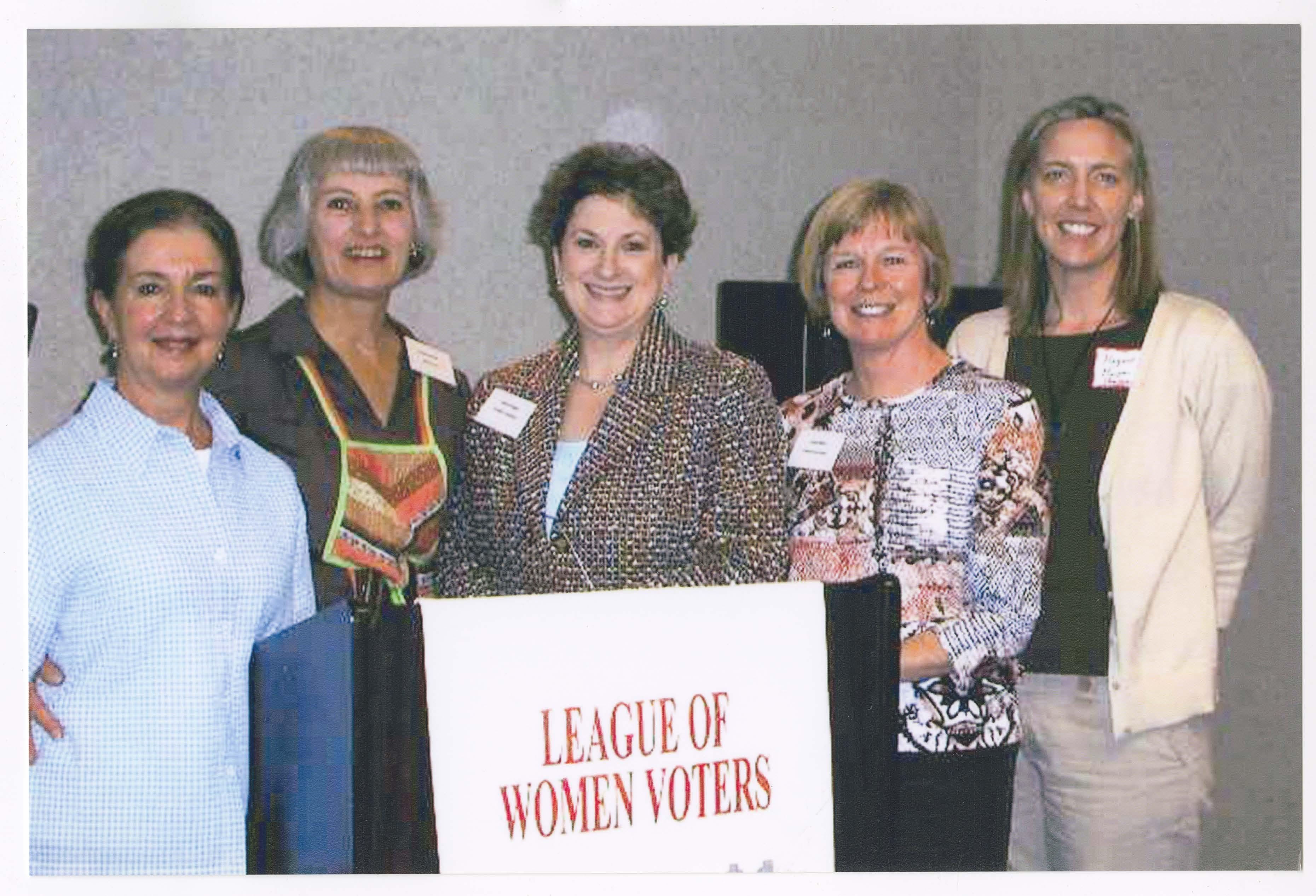 Four presidents: Barbara Zia, Sheila Haney, Laurel Suggs and Susan Richards with board member Margaret Murphy