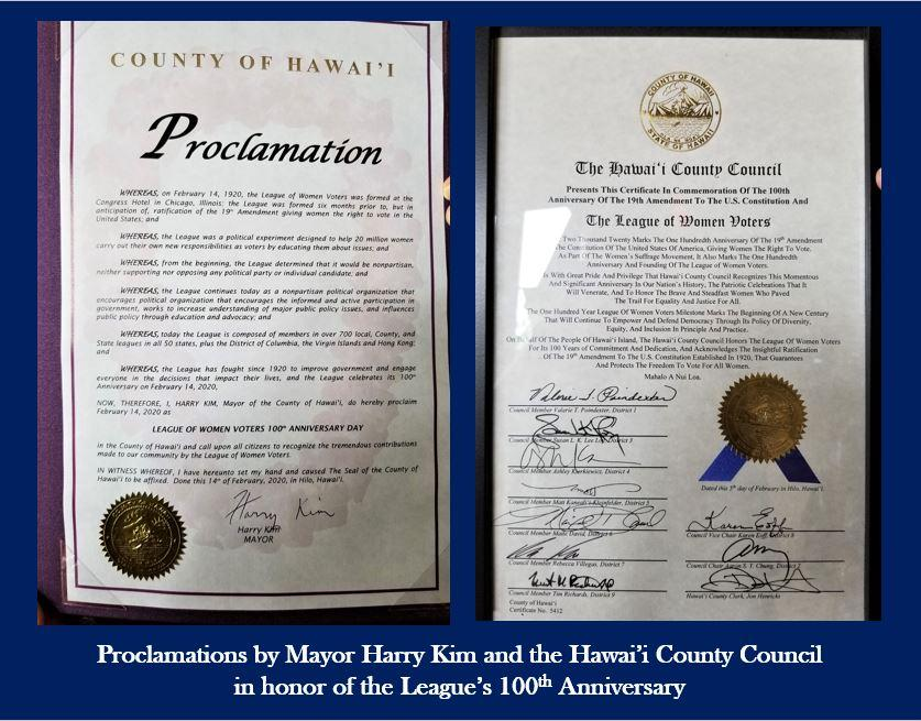 LWVHC Proclamations by Mayor and Hawai'i County Council on 100th Anniversary